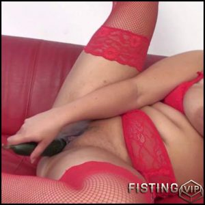 huge tit milf in red outfit masturbating on the sofa – mature, milf, big tit, bbw, solo, blowjob, dildo (Release February 18, 2017)