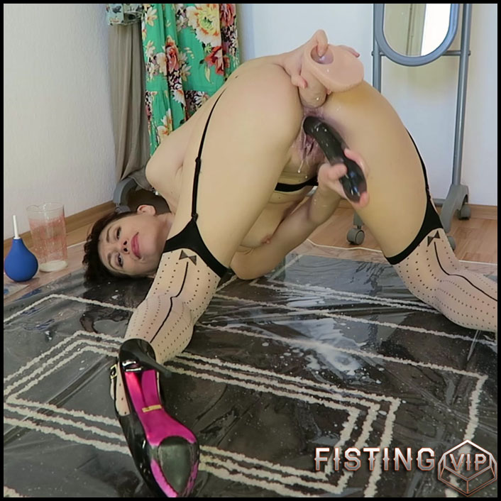 Milk enema & both holes fucking - Full HD-1080p, double fisting, Solo, Biggest Dildo, Anal, Toys (Release April 20, 2017)
