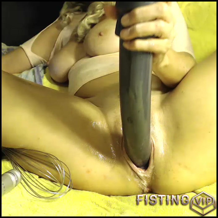 Busty wife bottle, hand and monster dildo fuck in cunt - colossal dildo, huge dildo, solo fisting, webcam (Release August 27, 2017)1