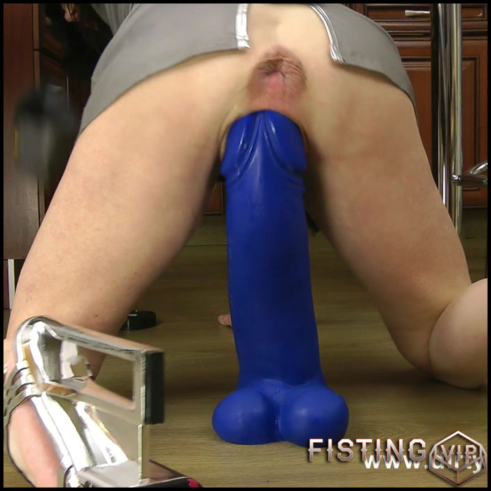 Biggest blue dildo ever full