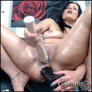 Dirty brunette penetration more huge dildos in her stretching asshole – dildo anal, double dildo, double penetration (Release December 19, 2017)