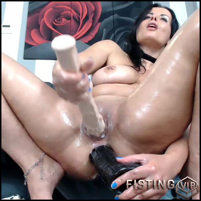 Dirty brunette penetration more huge dildos in her stretching asshole - dildo anal, double dildo, double penetration (Release December 15, 2017)