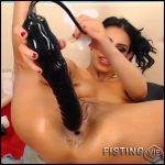 Dirty brunette Sandrastarr insertion big butplug deep in ass – dildo anal, skinny, webcam (Release January 18, 2017)