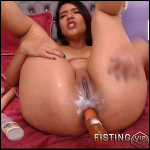 Booty latina girl penetrated long dildo and bottle in shitting ass – Full HD-1080p, bottle anal, dildo anal (Release April 23, 2018)
