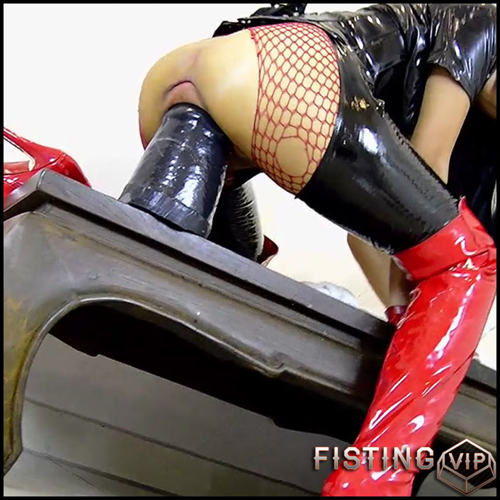 Rubber Girl Penetration Epic Dildo In Amazing Stretching Pussy - Monster Dildo