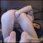 Young Brunette Teen Stretching Her Gaping Pussy After Dildo And BBC Dildo Games – Teen Fisting