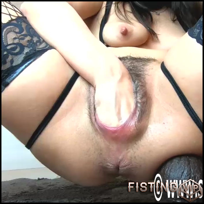 Masked Fetish Girl Stretching Pussy Gape After Dildo sex And Fisting - Littlelillyfuckslut - Solo Fisting, BBC Dildo1