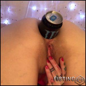 Monster Anal Gape Stretching With Energy Drink Tin – Badlittlegrrl – Bottle Anal