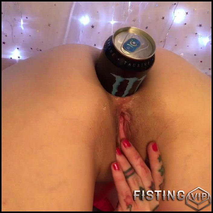 Monster Anal Gape Stretching With Energy Drink Tin - Badlittlegrrl - Bottle Anal