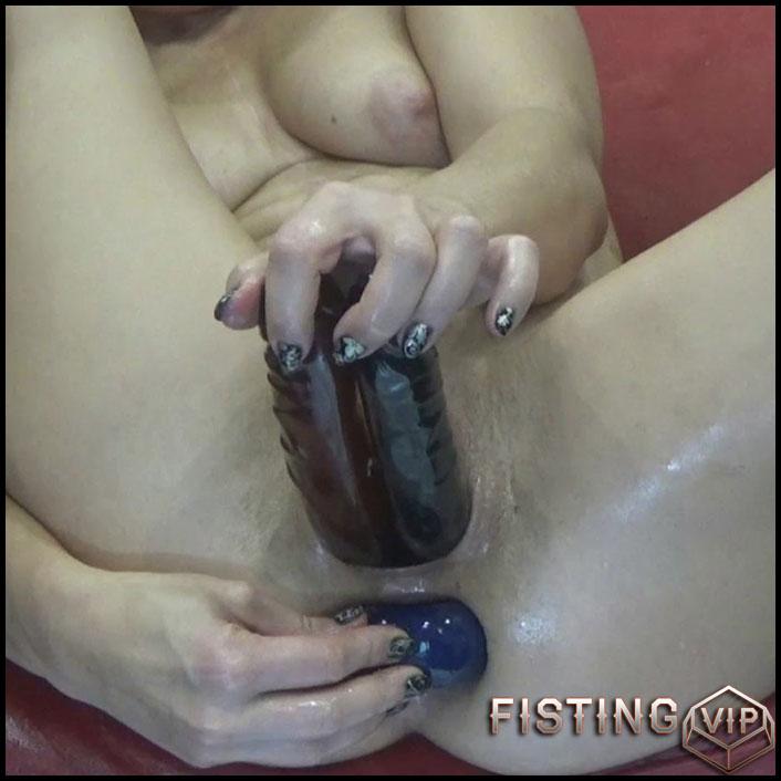 Stuffed Ass And Fucked Pussy - BIackAngel - Double Dildo, Long Dildo