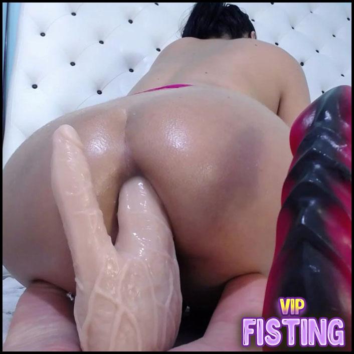 Fantastic Booty Latin Double Dildo Fuck In Her Gaping Anus - xxisabelaxxx - Huge Dildo
