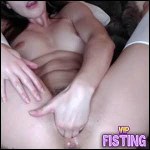 Wonderful Brunette Fisted And Dildo Penetration In Gaping Hairy Pussy – Solo Fisting