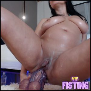 Big Tits Brunette Penetration Monster Horse Dildo Fully In Her Asshole – Huge Dildo