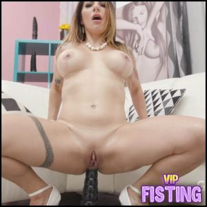 Big Black Dildo and Deepthroat Fuck Hardcore – Lilly Veroni – Dildo Anal