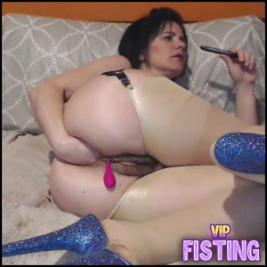 Double Vaginal and Anal Fisting Too With Saggy Tits Brunette – Analvivian – Solo Fisting