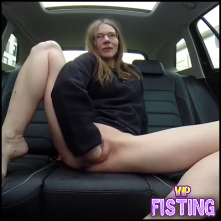 Rough Traffic Cone Rides and Fisting Solo in the Car With German Girl