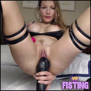 Russian Perverted Girl Big Black Toy Penetration in Her Piercing Pussy – Blondcandy – Huge Dildo