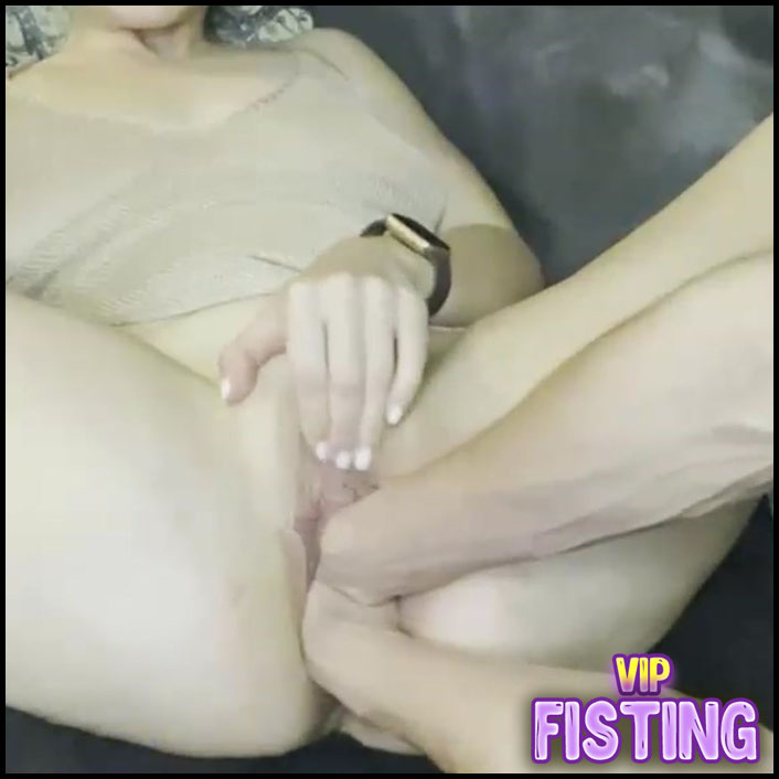 Homemade Brutal Double Vaginal Fisting and Dildos Penetration Too